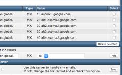 cấu hình MX records trong directadmin