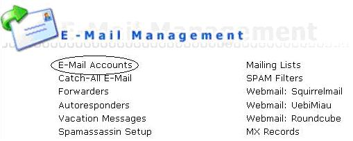 Email accounts trong DirectAdmin