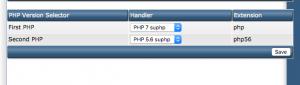 Lựa chọn phiên bản PHP khác nhau