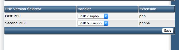chọn các phiên bản PHP khác nhau